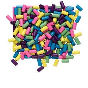 bead mix, wood, mixed colors, 12x5mm round tube. sold per 90-gram pkg, approximately 720 beads.
