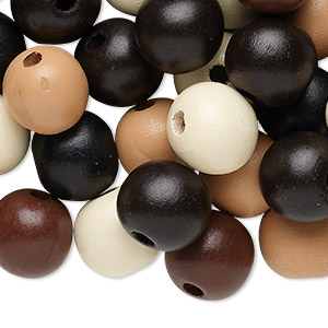 bead mix, wood, mixed colors, 20mm round. sold per 400-gram pkg, approximately 180 beads.