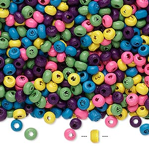 bead mix, wood, mixed colors, 3x2mm rondelle. sold per 400-gram pkg, approximately 45,000 beads.