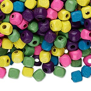 bead mix, wood, mixed colors, 5x5mm cube. sold per 90-gram pkg, approximately 1,200 beads.
