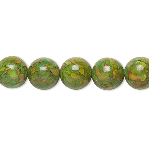 bead, mosaic turquoise (dyed / assembled), green, 10mm round, mohs hardness 3-1/2 to 4. sold per 16-inch strand.