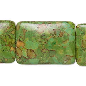 bead, mosaic turquoise (dyed / assembled), green, 30x22mm rectangle, mohs hardness 3-1/2 to 4. sold per pkg of 6.