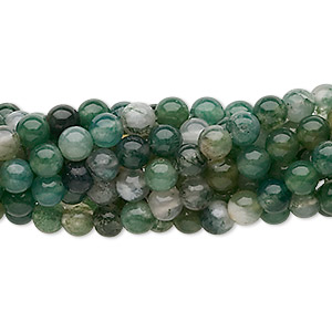 bead, moss agate (natural), 4mm round, c grade, mohs hardness 6-1/2 to 7. sold per pkg of (10) 16-inch strands.
