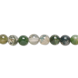 bead, moss agate (natural), 6mm round, b grade, mohs hardness 6-1/2 to 7. sold per 16-inch strand.