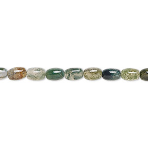 bead, moss agate (natural), 6x4mm oval, b grade, mohs hardness 6-1/2 to 7. sold per 16-inch strand.