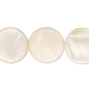 bead, mother-of-pearl shell (bleached), white, 17-18mm flat round. sold per 15-inch strand.