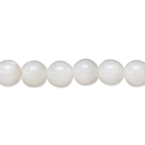 bead, mother-of-pearl shell (bleached), white, 8mm round, mohs hardness 3-1/2. sold per 16-inch strand.