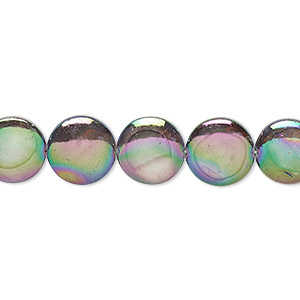 bead, mother-of-pearl shell (dyed / coated), silver, 10mm flat round, mohs hardness 3-1/2. sold per 15-inch strand.