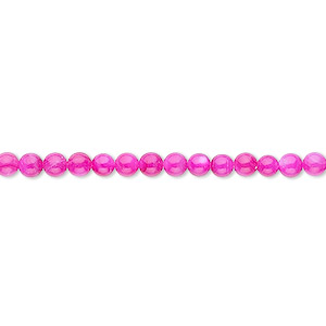 bead, mother-of-pearl shell (dyed), fuchsia, 3mm round. sold per 16-inch strand.
