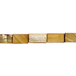 bead, mother-of-pearl shell (dyed), golden olive, 12x6mm-13x7mm flat rectangle, mohs hardness 3-1/2. sold per 15-inch strand.