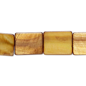 bead, mother-of-pearl shell (dyed), golden olive, 14x11mm-15x12mm flat rectangle, mohs hardness 3-1/2. sold per 15-inch strand.