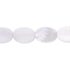 bead, mother-of-pearl shell (dyed), lavender, 14x10mm flat oval. sold per 16-inch strand.