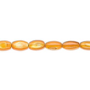 bead, mother-of-pearl shell (dyed), light amber yellow, 8x5mm oval. sold per 16-inch strand.