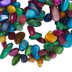 bead, mother-of-pearl shell (dyed), multicolored, medium chip, mohs hardness 3-1/2. sold per 29-inch strand.