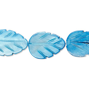 bead, mother-of-pearl shell (dyed), ocean blue, 18x13mm carved leaf, mohs hardness 3-1/2. sold per 14-inch strand.