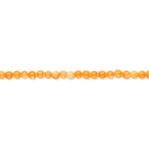 bead, mother-of-pearl shell (dyed), orange, 2mm round. sold per 16-inch strand.