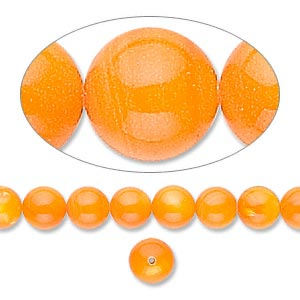 bead, mother-of-pearl shell (dyed), orange, 6mm round. sold per 16-inch strand.