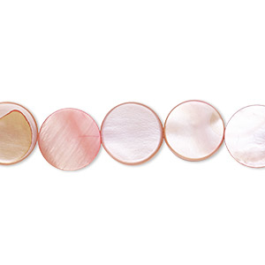 bead, mother-of-pearl shell (dyed), pink, 10mm flat round, mohs hardness 3-1/2. sold per 16-inch strand.