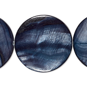 bead, mother-of-pearl shell (dyed), royal blue, 29-30mm flat round, mohs hardness 3-1/2. sold per 15-inch strand.