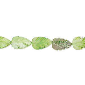 bead, mother-of-pearl shell (dyed), spring green, 10x6mm-11x7mm carved leaf, mohs hardness 3-1/2. sold per 14-inch strand.
