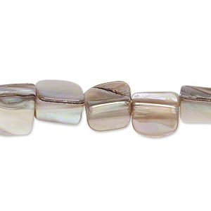 bead, mother-of-pearl shell (natural), mini to small nugget, mohs hardness 3-1/2. sold per 15-inch strand.