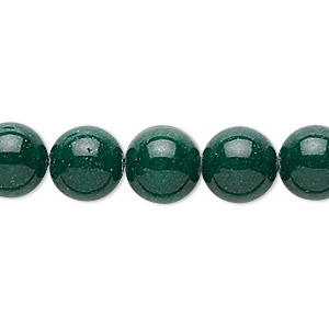 bead, mountain jade (dyed), dark green, 10mm round, b grade, mohs hardness 3. sold per 16-inch strand.