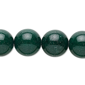 bead, mountain jade (dyed), dark green, 14mm round, b grade, mohs hardness 3. sold per 16-inch strand.