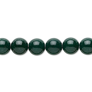 bead, mountain jade (dyed), dark green, 8mm round, b grade, mohs hardness 3. sold per 16-inch strand.