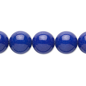 bead, mountain jade (dyed), lapis blue, 12mm round, b grade, mohs hardness 3. sold per 16-inch strand.