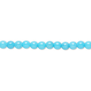 bead, mountain jade (dyed), opaque light blue, 4mm round, b grade, mohs hardness 3. sold per 16-inch strand.