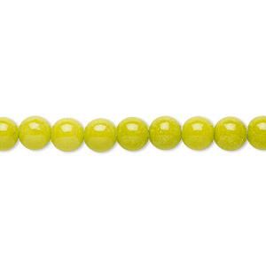 bead, mountain jade (dyed), opaque light green, 6mm round, b grade, mohs hardness 3. sold per 16-inch strand.
