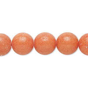 bead, mountain jade (dyed), opaque peach, 12mm round, b grade, mohs hardness 3. sold per 16-inch strand.