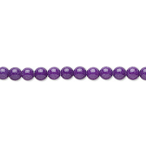 bead, mountain jade (dyed), purple, 4mm round, b grade, mohs hardness 3. sold per 16-inch strand.