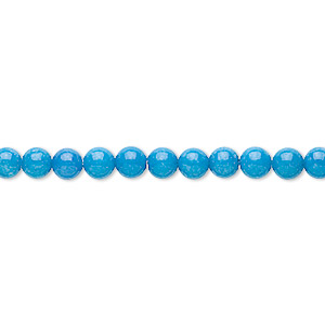 bead, mountain jade (dyed), turquoise blue, 4mm round, b grade, mohs hardness 3. sold per 16-inch strand.