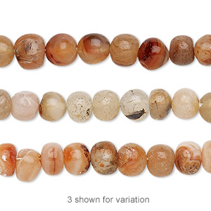 bead, multi-agate (natural / dyed / heated), small to medium hand-cut pebble, mohs hardness 6-1/2 to 7. sold per 13-inch strand.