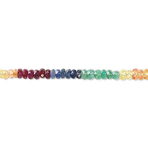 bead, multi-gemstone (heated / oiled), 2x1mm-4x3mm graduated hand-cut faceted rondelle with 0.4-1.4mm hole, b- grade, mohs hardness 7-1/2 to 9. sold per 8-inch strand.