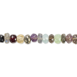 bead, multi-gemstone (natural / dyed / heated / irradiated), multicolored, 5x2mm-7x4mm hand-cut faceted rondelle, c+ grade, mohs hardness 3 to 7. sold per 8-imch strand.