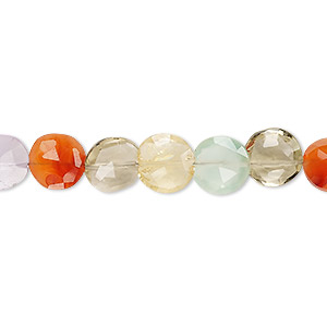 bead, multi-gemstone (natural / dyed / heated / irradiated), multicolored, 8-9mm hand-cut faceted puffed flat round, b grade, mohs hardness 3 to 7. sold per 8-inch strand.