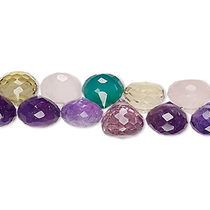bead, multi-gemstone (natural / dyed / heated / irradiated), multicolored, 8x7mm-10x8mm hand-cut top-drilled faceted teardrop, b grade, mohs hardness 3 to 7. sold per 4-inch strand.
