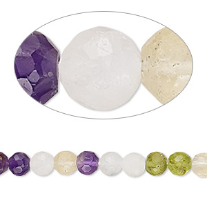 bead, multi-gemstone (natural / dyed / heated), 5mm hand-cut faceted round, c grade, mohs hardness 6-1/2 to 7. sold per 13-inch strand.