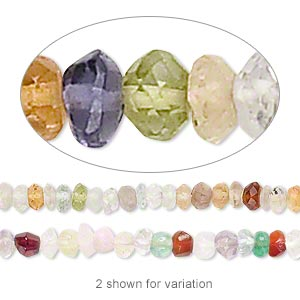 bead, multi-gemstone (natural / dyed / heated), mixed colors, 4x1mm-5x4mm hand-cut faceted rondelle, c- grade, mohs hardness 7. sold per 12-inch strand.