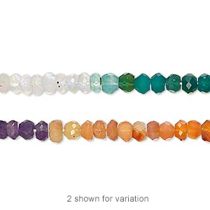 bead, multi-gemstone (natural / dyed / heated), multicolored, 4x2mm-5x3mm hand-cut faceted rondelle, c grade, mohs hardness 3 to 7. sold per 14-inch strand.