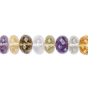 bead, multi-gemstone (natural / heated / irradiated), 8x4mm-10x8mm hand-cut faceted rondelle, b grade, mohs hardness 3 to 7. sold per 7-inch strand.