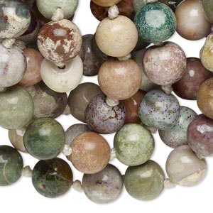 bead, multi-jasper (natural), 7-9mm hand-cut round, c grade, mohs hardness 6-1/2 to 7. sold per 34-inch knotted continuous strand.