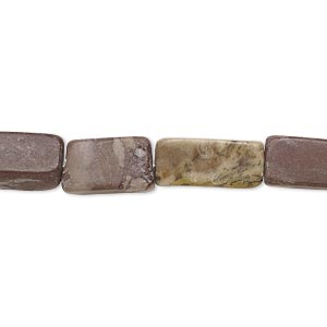 bead, multi-marble (natural), 12x7mm-17x8mm flat rectangle, c- grade, mohs hardness 3. sold per 15-inch strand.