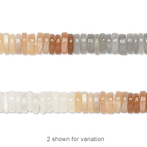 bead, multi-moonstone (natural), 4x1mm-6x2mm hand-cut rondelle, b grade, mohs hardness 6 to 6-1/2. sold per 8-inch strand, approximately 100-150 beads.