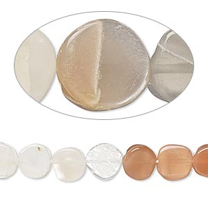 bead, multi-moonstone (natural), 7-8mm hand-cut flat round, c grade, mohs hardness 6 to 6-1/2. sold per 14-inch strand.