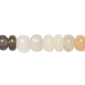 bead, multi-moonstone (natural), 8x5mm-9x6mm graduated hand-cut rondelle with 0.4mm-1.4mm hole, b+ grade, mohs hardness 6 to 6-1/2. sold per 16-inch strand.