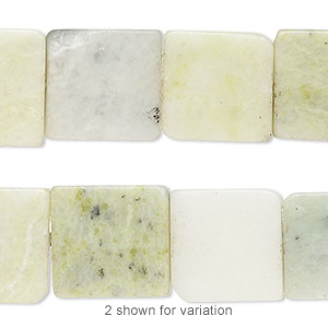 bead, multi-new jade (natural), 15x15mm-16x16mm flat square, d- grade, mohs hardness 2-1/2 to 6. sold per 15-inch strand. minimum 2 per order.