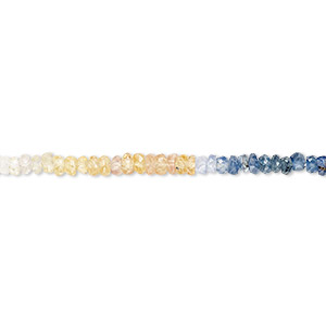 bead, multi-sapphire (natural / heated), shaded, 2x1mm-3x2mm hand-cut faceted rondelle, b+ grade, mohs hardness 9. sold per 15-inch strand.